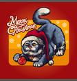christmas cute cat at red santas hat holiday vector image vector image