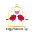 cute valentine day glitter birds and gold birdcage vector image