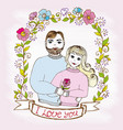 doodle postcard man and woman love in floral frame vector image vector image
