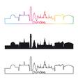 Dundee skyline linear style with rainbow vector image vector image