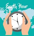 earth hour cartoon vector image vector image