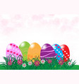 easter eggs in fresh green grass with copy space vector image
