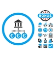 Euro Bank Transactions Flat Icon with Bonus vector image vector image