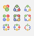 exchange dollar euro yen and pound icon set vector image