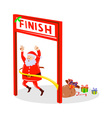 Father Christmas Santa Claus finishing race vector image vector image