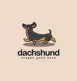 fun walking dachshund dog cartoon mascot logo vector image