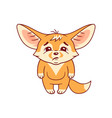 funny fennec fox looks with sadness cute kawaii vector image vector image