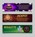 gambling banners with roulette wheel and casino vector image vector image