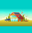 green house electric car renewable energy vector image vector image