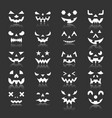 halloween pumpkin face icon set with reflection vector image vector image