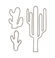 Hand drawn outline cactus set vector image