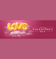happy valentines day greeting banner with golden vector image vector image