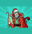 hipster santa claus with sweets and christmas gift vector image vector image