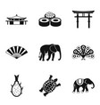 indian animal icons set simple style vector image vector image