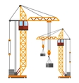 Industrial construction cranes flat style vector image