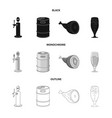 isolated object of pub and bar logo collection of vector image vector image