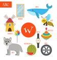 Letter W Cartoon alphabet for children Watermelon vector image vector image