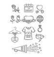 line icons set for valentines day vector image