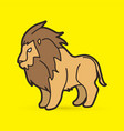 lion standing side view graphic vector image