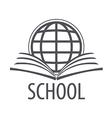 logo open book and globe vector image vector image