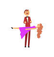 magician performing levitating trick with girl vector image vector image