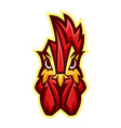 mascot stylized rooster head vector image vector image
