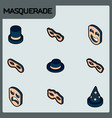 masquerade color concept isometric icons vector image vector image