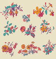 Meadow flower and leaf set isolated on beige flora vector image