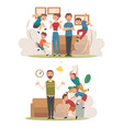 meditating parents and mischievous children set vector image vector image