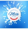 Milk emblem with splashes on blue background vector image