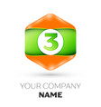 number three logo in the colorful hexagonal vector image vector image