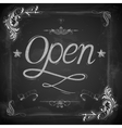 Open written on chalkboard vector image vector image