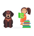 pretty schoolgirl sits on pile of books with pet vector image vector image