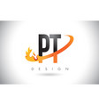pt p t letter logo with fire flames design and vector image vector image