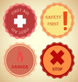Retro badge collection of warning vector image