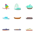 Riding on water icons set cartoon style vector image vector image