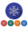 round icon of snowflake flat style with long vector image