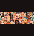 seamless pattern with female faces banner vector image