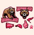 set brown bear mascot vector image vector image