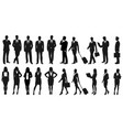 set of businesspeople silhouettes vector image vector image