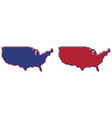 simplified map - united states america outline vector image