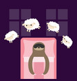 sloth in sleeping mask jumping sheeps cant sleep vector image vector image