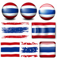 Thailand flag on different items vector image vector image