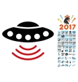 Ufo Icon with 2017 Year Bonus Symbols vector image vector image