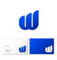 w letter monogram logo business card blue web vector image