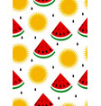 watermelon and sun seamless background vector image vector image