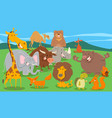 wild animal characters group in the wild vector image