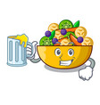 with juice mascot diet fresh tasty fruit salad vector image