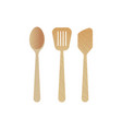 wooden kitchen utensils cooking tools set spatula vector image