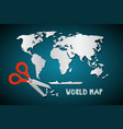 world map with scissors paper cut design vector image vector image